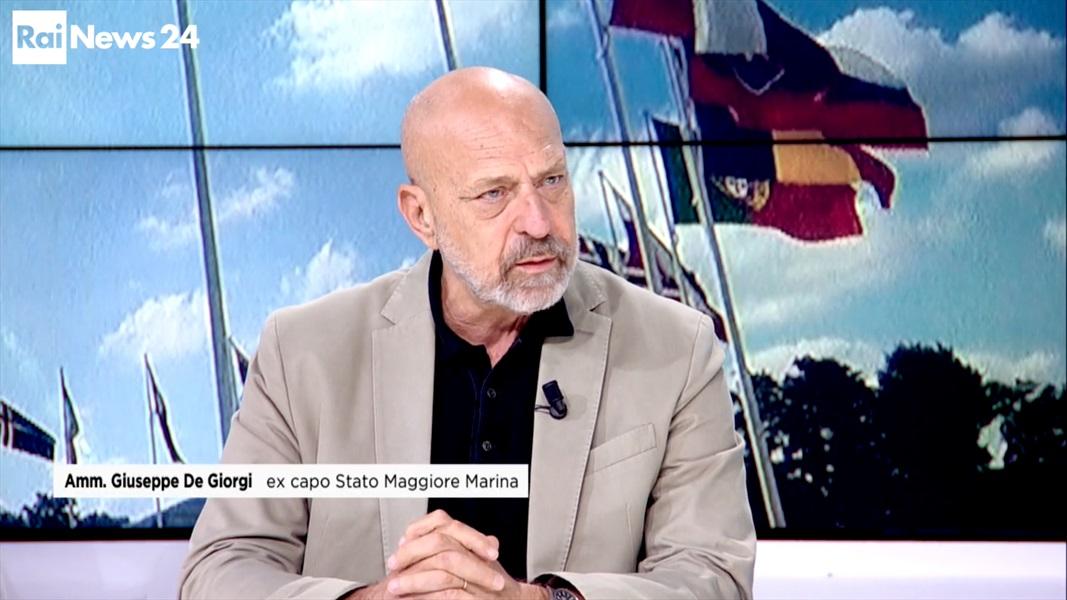 Ammiraglio Giuseppe De Giorgi - Ammiraglio De Giorgi ospite a RaiNews 24 per parlare di Difesa Europea